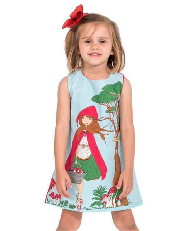 Vestido Caperucita detalle ilustración