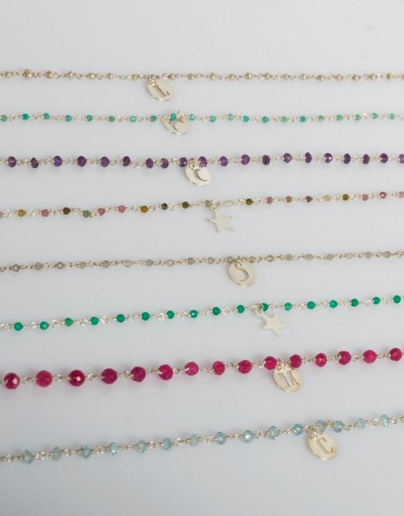 Collar de rosario mineral plata
