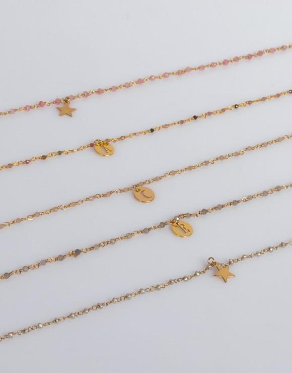 Collar de rosario mineral oro