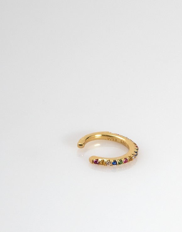 Pendiente earcuff arco iris oro