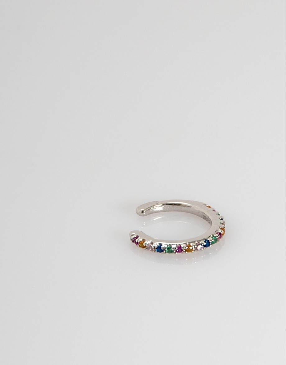 Pendiente earcuff arco iris plata