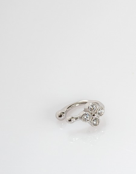 Pendiente earcuff flor circonita plata