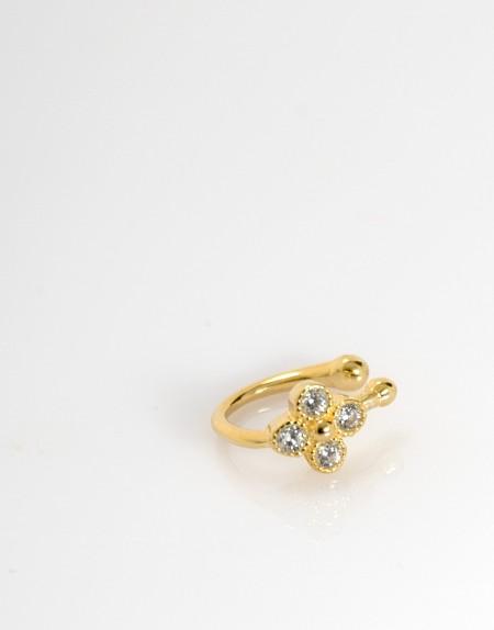 Pendiente earcuff flor circonita oro