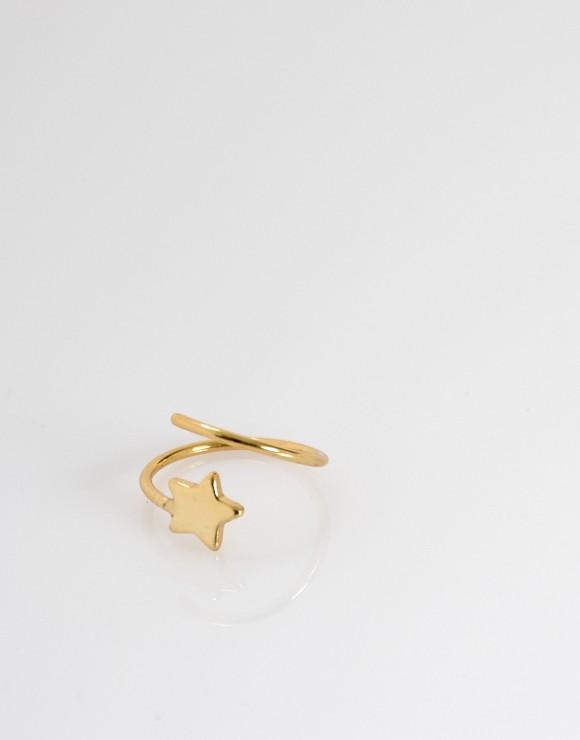 Pendiente earcuff espiral estrella oro