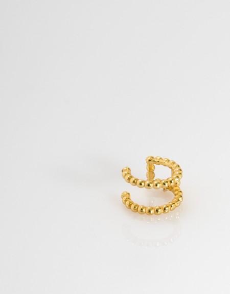 Pendiente earcuff doble bolitas oro