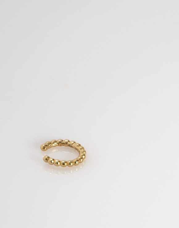Pendiente earcuff sencillo bolitas oro