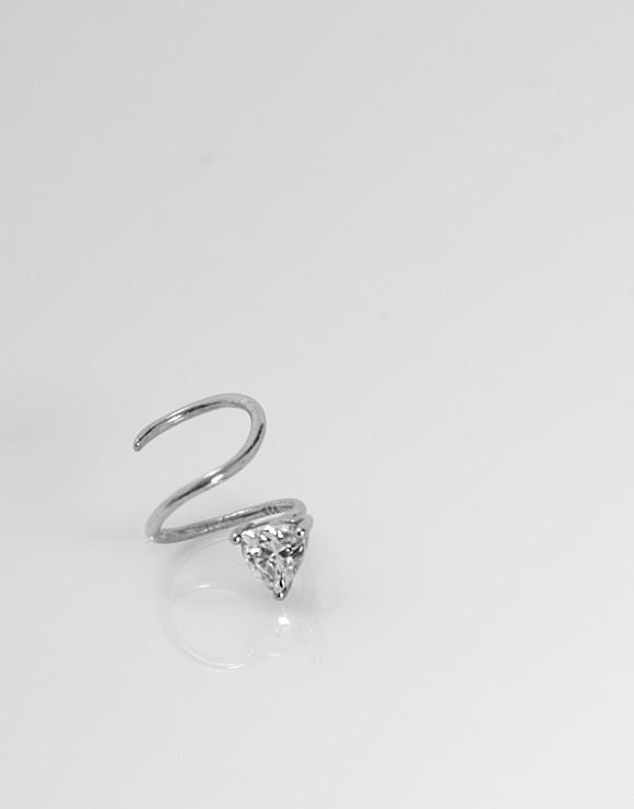 Pendiente earcuff espiral triangulo circonita plata