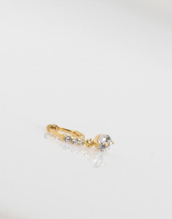 Pendientes piercing Mini colgante circonita oro