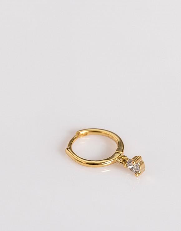 Pendiente piercing aro liso colgante circonita  oro