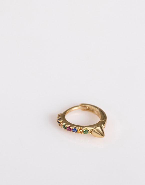 Pendiente Piercing aro pincho circonitas color oro
