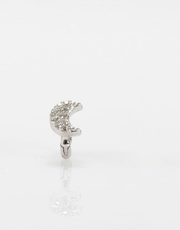 Pendiente piercing mini luna plata
