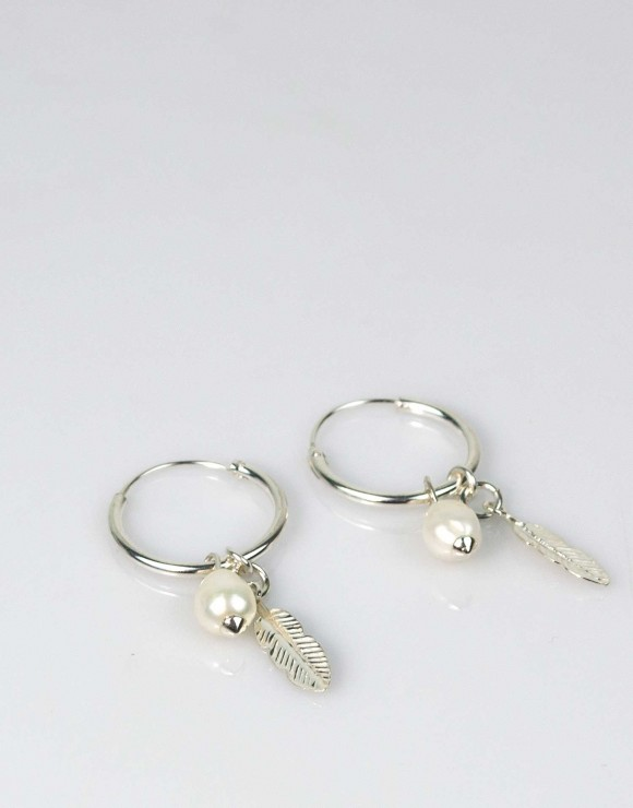 Pendientes aro pluma plata perla