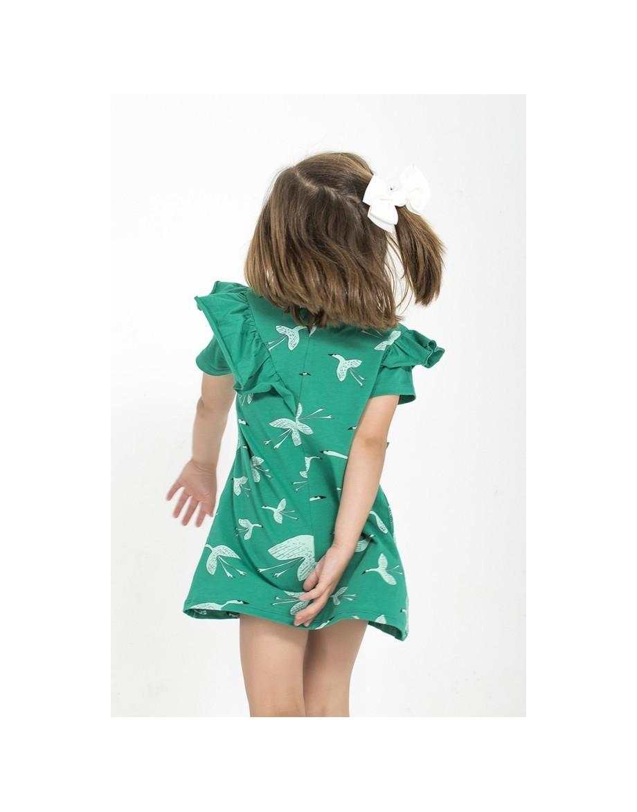 vestido-ninas-verde-bonito-dibujo-grullas-nomadas