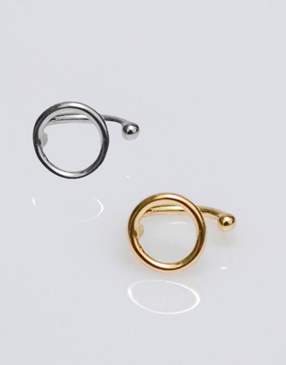 Pendiente earcuff círculo oro y plata