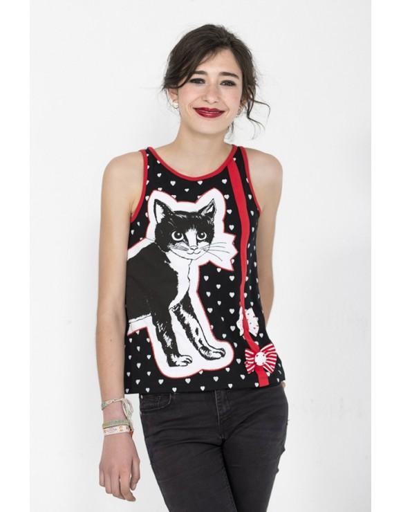camiseta-original-dibujo-gata-negra-la-gata