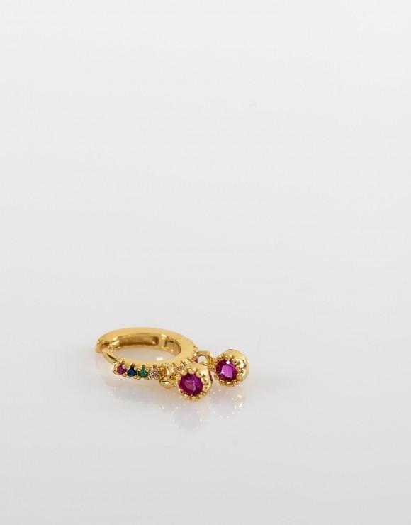 Pendiente piercing aro colgantes circonitas multicolor oro