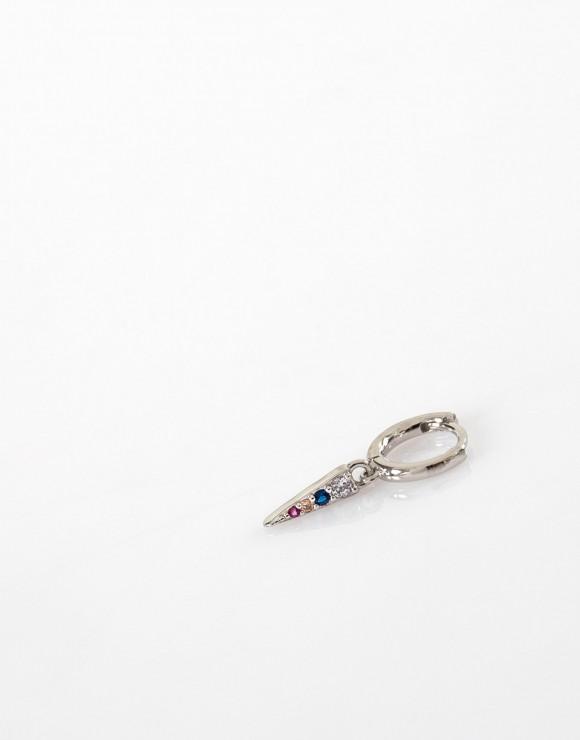 Pendiente piercing aro liso pincho circonitas color plata