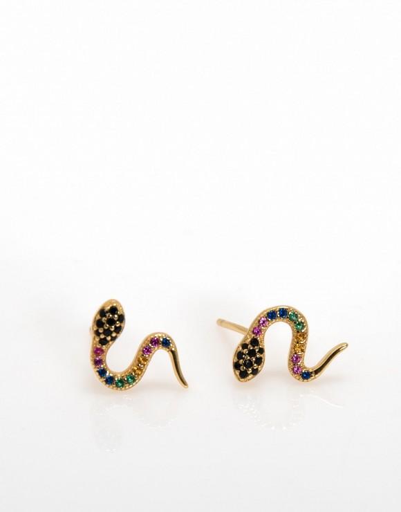 Pendiente pegado serpiente circonita color