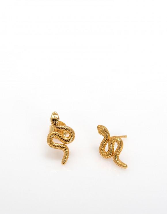 Pendiente pegado serpiente enroscada oro