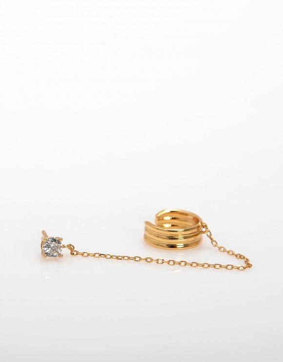 Pendiente Earcuff cadena y diamante