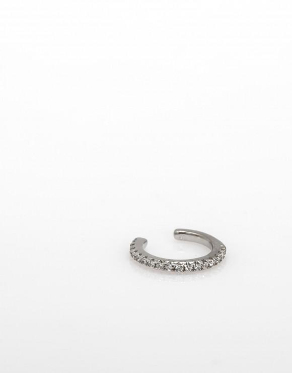 Pendiente earcuff medio circonitas plata