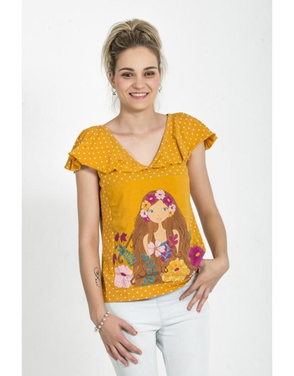 camiseta-original-mostaza-ilustracion-floral-la-flor-de-la-canela