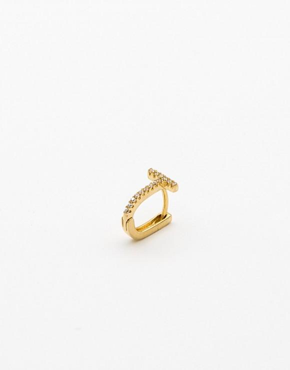 Pendiente piercing aro rectangular T circonita oro
