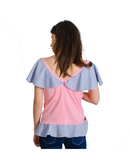 Camiseta La Flor de la Canela rosa detalle de la espalda