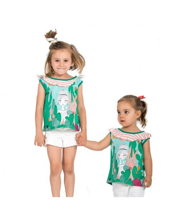 camiseta-ninas-original-dibujos-cactus-magical-verde