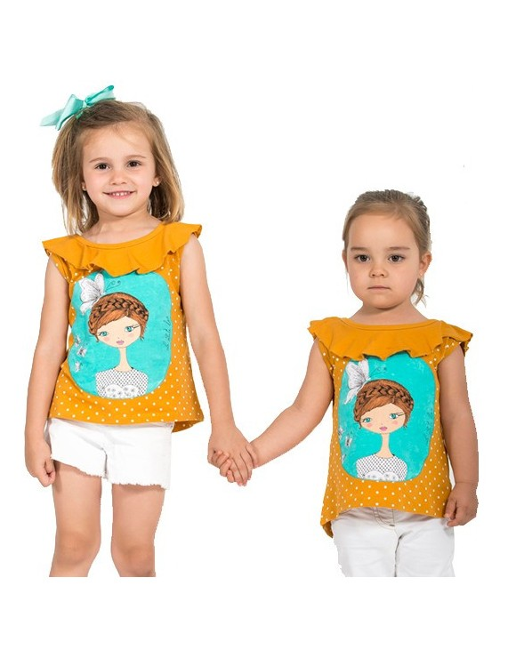 camiseta-ninas-color-mostaza-dibujo-original-summer-time