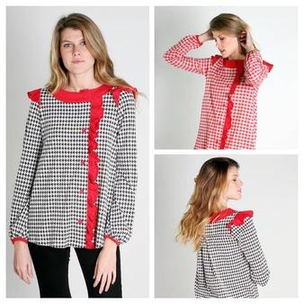 NEW IN. En este nuevo diseño hemos apostado por dos clásicos muy invernales. La pata de gallo y los cuadros. Estampados atemporales que combinan a la perfección el aire romántico de esta blusa de volantes y detalles en tono rojo.  ¿Con que versión te quedas?  #lagatalocaonline#camisetasoriginales#bohemianphilosophy @gloria_sancho . . . . . #camisetas #blusas #camisetasbonitas #moda #blusasbonitas #ropademujer #ropamujeronline #modafemenina #camisetasdemujer #modamujer #camisetasdiseño #camisetascondibujos #camisetasestampadas #camisetasconilustraciones #lagataloca #mujer #lagatalocamoda